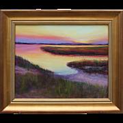 Hush on the Marsh-Seascape Original Oil Painting-Framed 16 X 20-Artist L. Warner