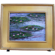 SOLD Lily Pond Blossoms-Original Oil Painting-Framed 11 X 14 by L. Warner