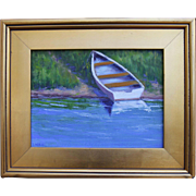 REDUCED Beached Across the Cove-9 X 12 Framed Oil Painting-Impressionistic Rowboat
