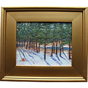 Winter in Wellfleet-9 X 12 Framed Oil Painting-Snowy Creek & Pine Trees