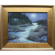 Weather Report-11 X 14 Framed Oil Painting-Moonlit Snowy Ravine-Cape Cod Scene