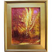 Dreamscape #1-Framed 11 X 14 Oil Painting-Abstract Garden In Pink & Gold