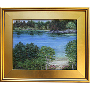 REDUCED Pond Reflections, Wellfleet, MA-11 X 14 Framed Oil Painting-Impressionistic Landscape