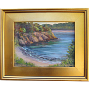 Sunrise at the Cove-9 X 12 Framed Oil Painting-Artist L. Warner-Impressionistic Seascape