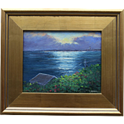 REDUCED Provincetown From North Truro, Cape Cod Seascape-8 X 10 Framed Oil Painting-Artist L.