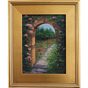 REDUCED Sanctuary-9 X 12 Framed Oil Painting-Floral Archway & Garden-Artist L. Warner
