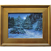 REDUCED Moonlit Winter Woods-9 X 12 Framed Oil Painting-Impressionistic Landscape by L. Warner