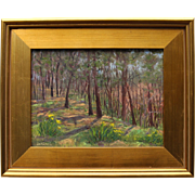 "Woods In Springtime-9 X 12 Framed Impressionistic Oil Painting by L. Warner-""Walk Through"
