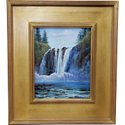 REDUCED Spring Melt, Snoqualmie Falls-8 X 10 Framed Oil Painting-Impressionistic Landscape