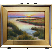 Golden Glow on the Marsh-Framed 11 X 14 Oil Painting-Impressionistic Sunset on Cape Cod, MA