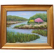 REDUCED Springtime by the Sea-Framed 16 X 20 Oil Painting-Impressionistic Seascape of Cape Cod