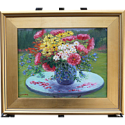 Flower Power-Framed 11 X 14 Oil Painting by L. Warner-Impressionistic Floral Bouquet