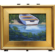 Beached Boat-Framed 9 X 12 Oil Painting by L. Warner-Impressionistic Coastal Scene