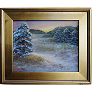 Winter's Decor-Framed 11 X 14 Oil Painting by L. Warner-Impressionistic Winter Marsh