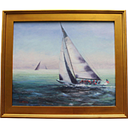 Fog Bank-Framed 20 X 24 Oil Painting by Artist L. Warner-Fleet Racing in ...