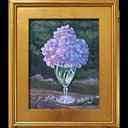 Nantucket Sundae-Framed 11 x 14 Oil Painting by L. Warner-Purple Hydrangea Blossom