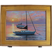 Sleep'in In-Harbor Sunrise-Framed 18 X 24 Oil Painting by L. Warner-Sailboats ...