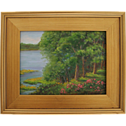 Summer Afternoon From My Deck-Framed 9 X 12 Oil Painting by L. Warner-Trees ...