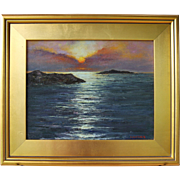 Sunrise from Jamestown, RI-Framed 11 X 14 Oil Painting by Artist L. Warner-Dazzling ...