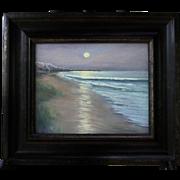 Moonlit Dunes-Framed 8 X 10 Oil Painting by Artist L. Warner-Seashore at Night