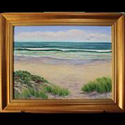 High Tide-Framed 18 X 24 Oil Painting by Artist L. Warner-Ocean Beach Summer Day