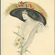 SALE Signed Early English Tuck's Photogravure Colored 'Beautiful Lady' Postcard