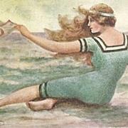 SALE Art Nouveau Signed 'Swimsuit' Postcard  c1910