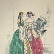 SALE Mid Victorian Signed Colored Theatre Costume Engraving 'La Sylphide'