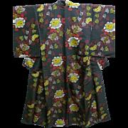 SALE Antique Black & Floral Silky Jinken Kimono c1900