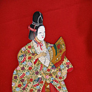 SALE Vintage Noh Performer Samurai Gilded and Hand Painted Silk Homongi Kimono.