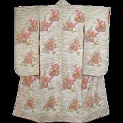 SALE Pristine White Vintage Silk Floral Furisode Kimono c1960