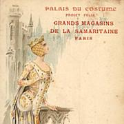 Art Nouveau Antique 'Palais du Costume' series Middle Ages Postcard c1900.