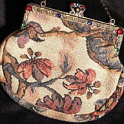 SALE Edwardian Era French Tapestry Evening Bag with Colored Cabochon & Brass Frame