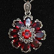 SALE Sterling Garnet and Marcasite Nouveau Revival Flower Pendant