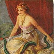 SALE Antique Artist 'Salambo with Snake' Postcard c1910