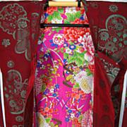 SALE Art Deco Burgundy Silk Haori Kimono with Floral Lining c1930