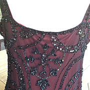 SALE Stunning Beaded and Sequined Black Net Strappy  Evening Dress with Burgundy Lining.