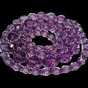 SALE Art Deco Amethyst Crystal Bead Flapper Necklace