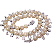 SALE Vintage Faux Pearl and Crystal Necklace
