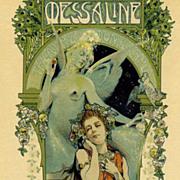 SOLD Antique Original French Art Nouveau 'Messaline' Lithograph Les Maitres de L'Affiche 1898