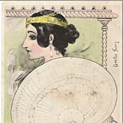SALE Art Nouveau French Signed 'Water Lily Woman with Fan' Postcard 1902