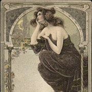 SALE Art Nouveau 'Beautiful Woman Moon Gazing' Postcard 1906