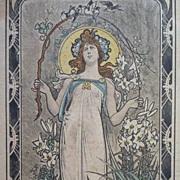 SALE German 'Art Nouveau Maiden' Artist Postcard 1905.