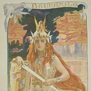 SALE Antique Original French Lithograph 'Brunnhild' L'Estampe Moderne series 1898.