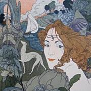 SALE Antique Art Nouveau French Lithograph 'Retour' L'Estampe Moderne series 1897.