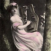 Early French Salon Real Photo Postcard 'Girl with Lute'