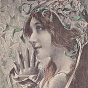 SALE 'Maiden with Mistletoe' French Artist Postcard 1900 Art Nouveau era.