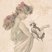 SALE French 'Girl with a Dove' Postcard..Art Nouveau 1904.