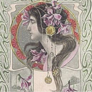 SALE French Signed Artist 'Nouveau Maiden with Pink Daffodils' Postcard 1905