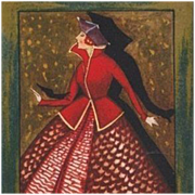 Rare Swiss Signed Art Deco 'Woman in Red' Postcard c1930.